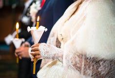 Wedding ceremony in orthodox church. Stock Photography
