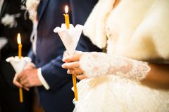 Wedding ceremony in orthodox church. Stock Images