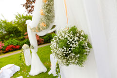 Wedding ceremony outdoor in a beautiful garden Stock Photo