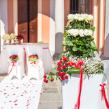 Wedding ceremony outdoor in a beautiful garden Stock Photography