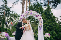 Wedding ceremony outdoors in the woods Stock Photo