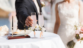 Wedding ceremony outside, champagne Royalty Free Stock Photography
