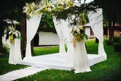 Wedding ceremony outside. Everything is ready Stock Image