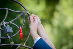 Wedding ceremony with padlock Stock Photography
