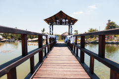 Wedding ceremony in the park with river on sunny day Stock Image