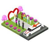 Wedding Ceremony Place Isometric View. Vector. Wedding Ceremony Place with Newlyweds Bride and Groom, Guests and Limousine Isometric View. Vector illustration of Royalty Free Stock Images