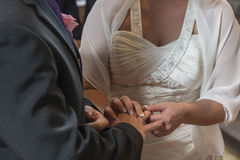 Wedding ceremony - Plugging in the wedding ring Royalty Free Stock Photography