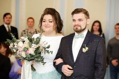 Wedding ceremony in a registry office Stock Photos