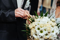 Wedding ceremony. Registry office. A newly-married Stock Photos