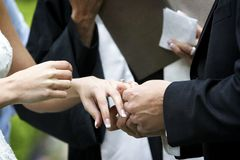 Wedding ceremony ring exchange Royalty Free Stock Photo
