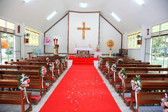 Wedding ceremony at Roman Catholic church Stock Photo