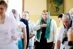 Wedding ceremony in Russian Orthodox Church. Stock Photography