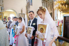 Wedding ceremony in Russian Orthodox Church. Royalty Free Stock Photo