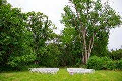 Wedding Ceremony Seating Outdoors Stock Photos