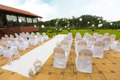 Wedding ceremony set in garden Royalty Free Stock Images