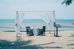 Wedding ceremony setup on the beach stock photos