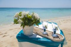 Free Wedding Ceremony Setup On A Tropical Beach Stock Photos - 112810043