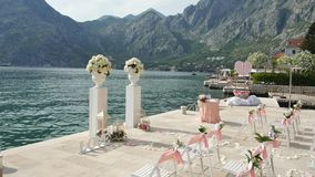 Wedding ceremony on the shore of Lake Como stock footage