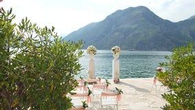 Wedding ceremony on the shore of Lake Como stock video