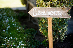 Wedding Ceremony Sign Royalty Free Stock Photos