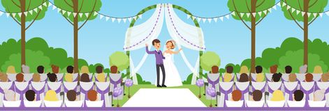 Wedding ceremony in summer park, newlyweds under arch and their guests sitting on benches horizontal vector Illustration stock illustration
