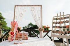 Wedding ceremony table decoration Royalty Free Stock Photography