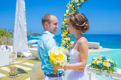 Wedding Ceremony at the Tropical Coast Line Royalty Free Stock Photo