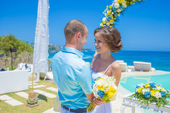 Wedding Ceremony at the Tropical Coast Line Stock Image