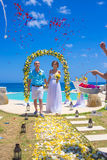 Wedding Ceremony at the Tropical Coast Line Royalty Free Stock Photos