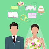 Wedding Ceremony Vector Concept in Flat Design. Wedding ceremony concept vector. Flat style. Faceless couple of newlyweds. Fiance and bride standing on green Royalty Free Stock Photo