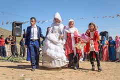 Wedding ceremony in the village. Lorestan Province. Iran. Lorestan Province, Iran - April 1, 2018: Lurish wedding ceremony in the village stock photo