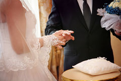 Wedding ceremony. Vows and wedding rings Stock Photos