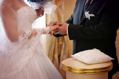 Wedding ceremony. Vows and wedding rings Stock Image