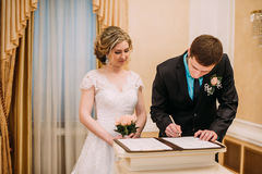 Wedding ceremony. Wedding couple leaving their signatures. Happy couple. Wedding photo shoot in the white studio with wedding decor kisses, hugs. Having fun Royalty Free Stock Photos