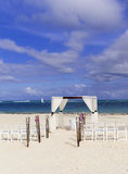 Wedding ceremony on the white caribbean beach Stock Photo