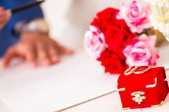 The wedding ceremony with wife and husband stock images