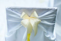 Wedding chair with bow Stock Image