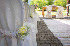 Wedding Chair Covers with Fresh Roses Stock Photos