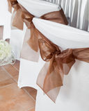 Wedding chair with ribbon. Royalty Free Stock Images