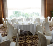 Wedding chair and table setting Royalty Free Stock Image