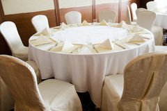 Wedding chair and table setting Stock Photo
