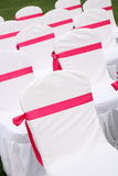 Wedding chairs. Ribbon decoration on wedding chairs cover Stock Image