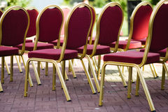 Wedding chairs. Outside wedding chairs preparing for a celebration Royalty Free Stock Image