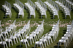 Wedding chairs. Set up before the ceremony Royalty Free Stock Images