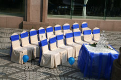 Wedding chairs. Outside wedding chairs preparing for a celebration Royalty Free Stock Photo