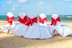 Wedding chairs on the beach Royalty Free Stock Photo
