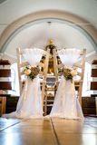 Wedding chairs in the church royalty free stock images