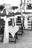 Wedding chairs decorated Royalty Free Stock Photos