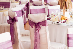 Wedding chairs decoration Stock Photos