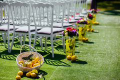 Wedding chairs on each side of archway. Wedding white wooden chairs on each side of archway, with vases and lemons near them Stock Photography